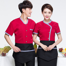 Hotel Restaurant Staff Uniforms Summer Frock Short Sleeved Work Shirt  Pantry Cafe Pot Shop Work Clothes Overall J118