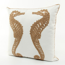 Embroidery Marine Biology Sea Horse Cushions Covers Embroidered Cushion Cover Sofa Chair Seat Decorative Pillow Case