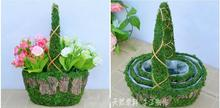 Free shipping,3pcs/lot,Oval Straw flower basket rattan willow flower green radish meat plant flower pots pastoral decor.(China)