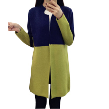 One Size Women Sweater Contrast Color Slim Sweet Cardigan Female Knitted Sweater Coat Cardigan(China)