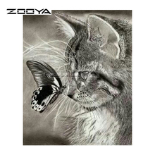 ZOOYA Diamond Embroidery DIY Diamond Painting Animal Gray Cat and Butterfly Diamond Painting Cross Stitch Rhinestone Mosaic BY17