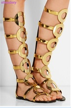 Eye-sighted Gold Patent Leather Flat Long Sandals Knee High Cut-out Cage Sandal Boots Big Ring Shoes Criss-Cross Strappy Boots(China)