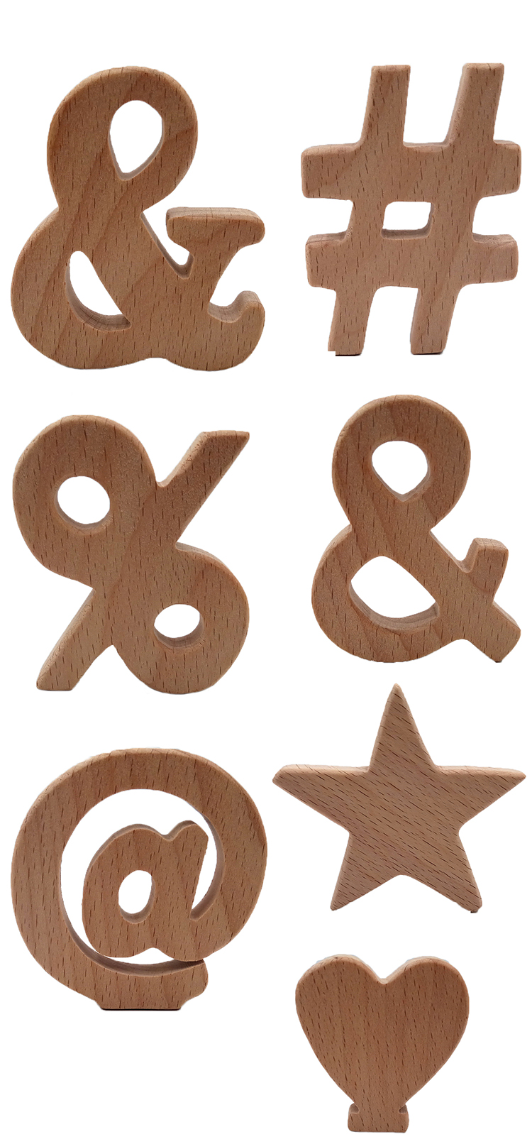 7pcs//Lot Wooden Teething Ring Untreated Natural Wood Teether Ring