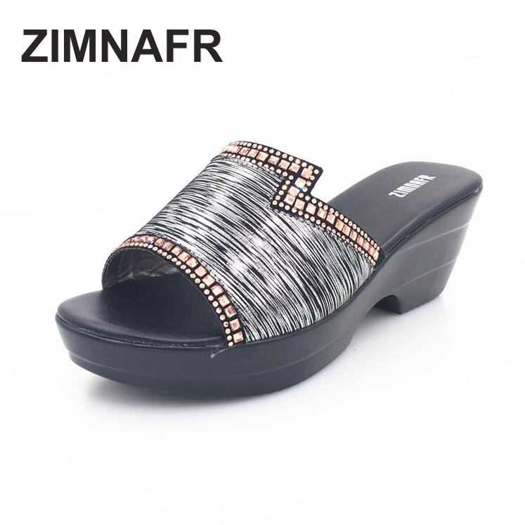 2017 summer new diamond soft thick middle-aged mother shoes slope with womens  cool slippers  plus size 35-42<br>