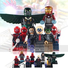 WM 8pcs/lot X0168 Super Hero Game Spiderman Ends of the earth Silk Masked Robber Iron Man Vulture Spider-Man Blocks Baby Toys(China)