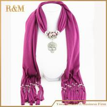 [RUNMEIFA]  Gorgeous bling crystal cool skull alloy jewelry women lady scarf 6 colors soft jersey cotton pendant charm scarves