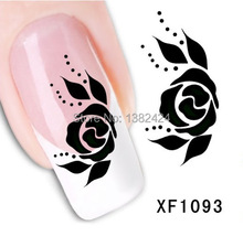 XF1093 Water Transfer Nail Art Sticker Decal Beauty Sexy Wild Black Rose Design DIY French Manicure Tool(China)
