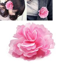 Silk Flower Hair Clip Wedding Corsage Flower Clip 8cm Pink(China)