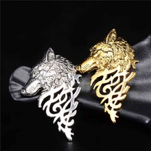 H:HYDE 1pc Domineering Retro Wolf Head Design Mens Clothes Jewelry Brooches Men's Suits Accessories Brooch Pins Best Sale