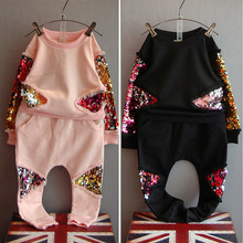 children's girls and boys cotton sweatshirt T-shirt +long pants sequined peacock suit kids sport casual set(China)