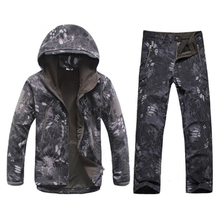 Winter Autumn Waterproof Shark Skin Softshell Jacket Set Men Tactical CP Camouflage Jacket Coat Camo Military Army Clothes Suit(China)