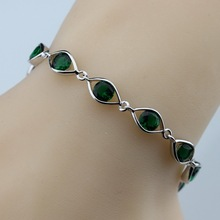 925 Sterling Silver Green Created Emerald Bracelet Health Fashion  Jewelry For Women Free Jewelry Box SL138