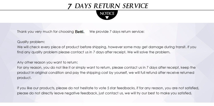 Betti-7 days return service
