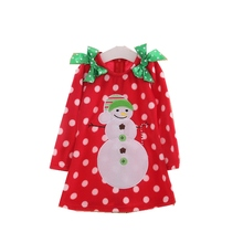 Snowman One Piece Girls Red Christmas Dress Long Sleeve Christmas Costumes For Kids Party Clothes Children Toddler Girl Clothing