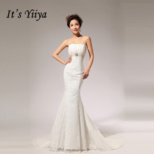 Buy Free 2017 New Custom Made Lace Ruched Straples Mermaid Train Wedding Dresses White Real Photo Trailing Bride Gowns HS70 for $54.63 in AliExpress store
