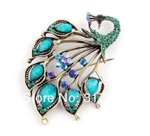Vintage Style Antique Bronze Plated Turquoise and Blue Rhinestone Crystal Peacock Brooch