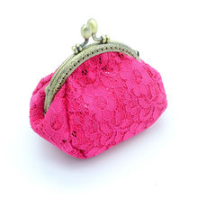 10.5cm Clasp Coin Purse Girls Kids Pouch Clutch Kiss-lock Wallet for Women Bags Card Pack Key Case Lace Sequins Handmade Bag(China)