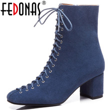 FEDONAS Retro 우아한 Women 소 Suede Ankle Boots 두꺼운 (High) 저 (힐 Warm Autumn Winter 마틴 Shoes Woman Office Pumps(China)