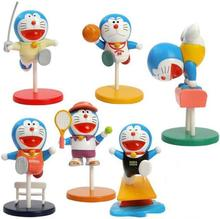 8cm 6pcs/lot Japanese anime figure Doraemon gymnastics sport ver action figure set collectible model toys for boys