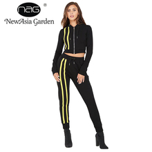 NewAsia Garden 2018 NEW Women Casual Tracksuit 2 Piece Sets Top And Pants Sexy Long Sleeve Fashion Tracksuits Two Piece Set(China)