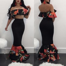 2017 women sets Hottest floral 2 Piece Set ruffle sleeve slash Crop top mermaid skirts Maxi long dress  Fashion party club Set