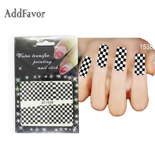 AddFavor 3PCS Black White Trellis Design Nail Art Sticker Water Transfer Nail Decal Tip Decoration Fingernail Nail Tool Stickers(China)