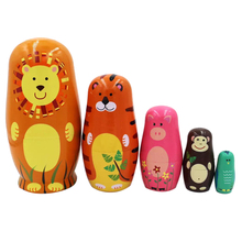 5pcs/set Animals Matryoshka Wooden Russian Hand Painted Nesting Dolls Handmade Souvenirs Toys with Box for Kids Xmas Gift