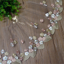 5Y-10Yard/Lot Handmade DIY clothing accessories Colorful embroidery lace fabric curtains sofa lace trim 17cm RS202
