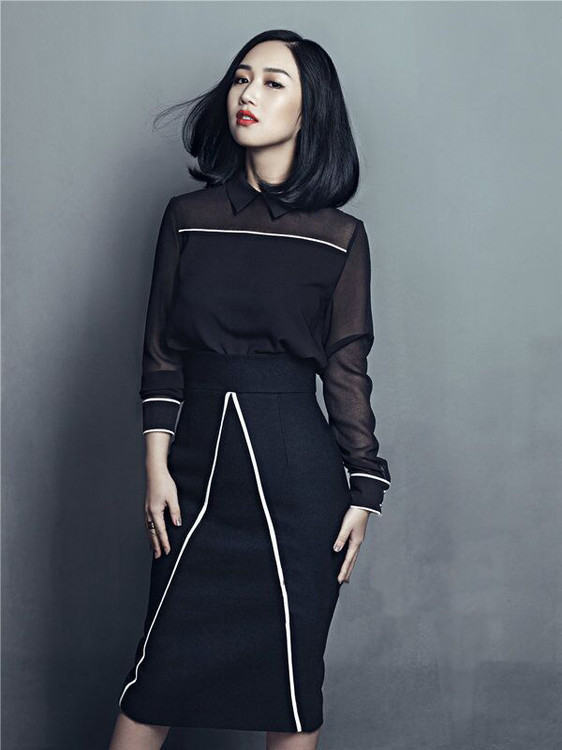 Two Pieces Set New Skirt Suits 17 Autumn Winter Women Turn-down Collar Black Blouses+Mid-Calf Length Pencil Skirts Clothing 1
