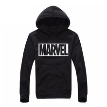 2017 New Marvel Letter Print Black Sweatshirt Men Hoodies Fashion Solid Hoody Men Pullover Men's Tracksuits male coats