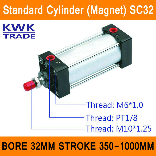 SC32 Standard Air Cylinders Valve Magnet Bore 32mm Strock 350mm to 1000mm Stroke Single Rod Double Acting Pneumatic Cylinder<br>