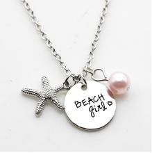 "12pcs/lot New Fashion necklace ""beach girl"" Pendant necklace Antique silver starfish Charm Pendant necklace Jewelry gift(China)"
