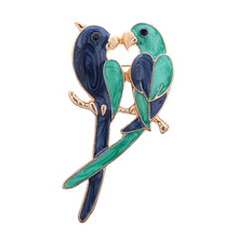 OneckOha Vintage Dual Bird Parrot Brooches Expoyed Alloy Brooch Pin Garment Accessories