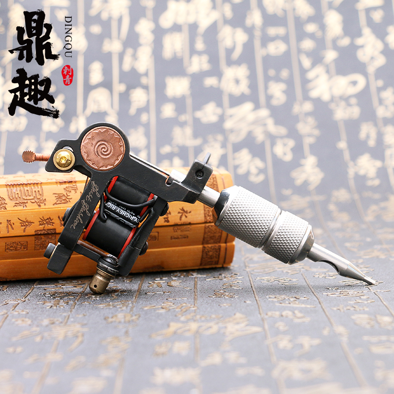High Strength Stable Working Speed Black Pig Iron 12 Wraps Coils High Rotating Speed Tattoo Machine Shader Guns Body Art TM2114(China)
