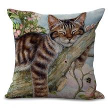 Free Shipping Custom Latest Design Cute Flowers Cat Printing Cotton Linen Decorative Pillow Cushion For Children's Gifts(China)