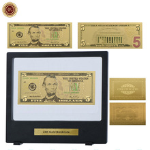 WR World Normal Money 24k 999.9 Gold Plated Colorful Fake Money Pure Gold Banknote Promotional Gifts with Black Showing Box