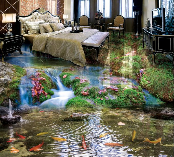 3d Flooring 3d-landscape-wallpaper Waterfall nine fish 3d floor painting self adhesive stereoscopic wallpaper <br>