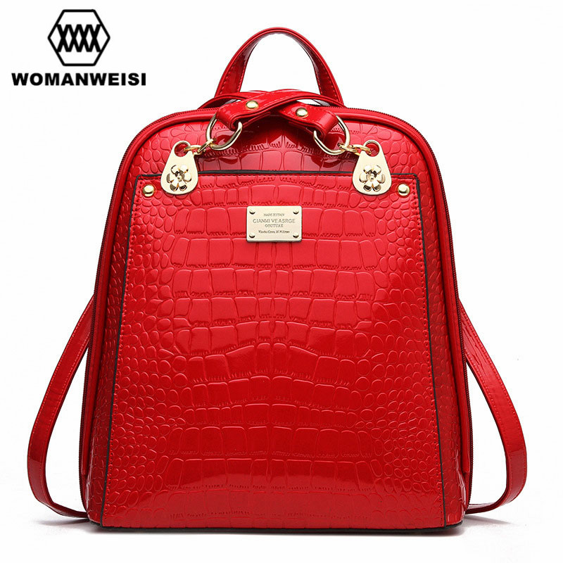 High Quality Crocodile Grain PU Leather Women Girl Backpacks Fashion Waterproof Dust-proof Students School Bags Traval Packages<br><br>Aliexpress