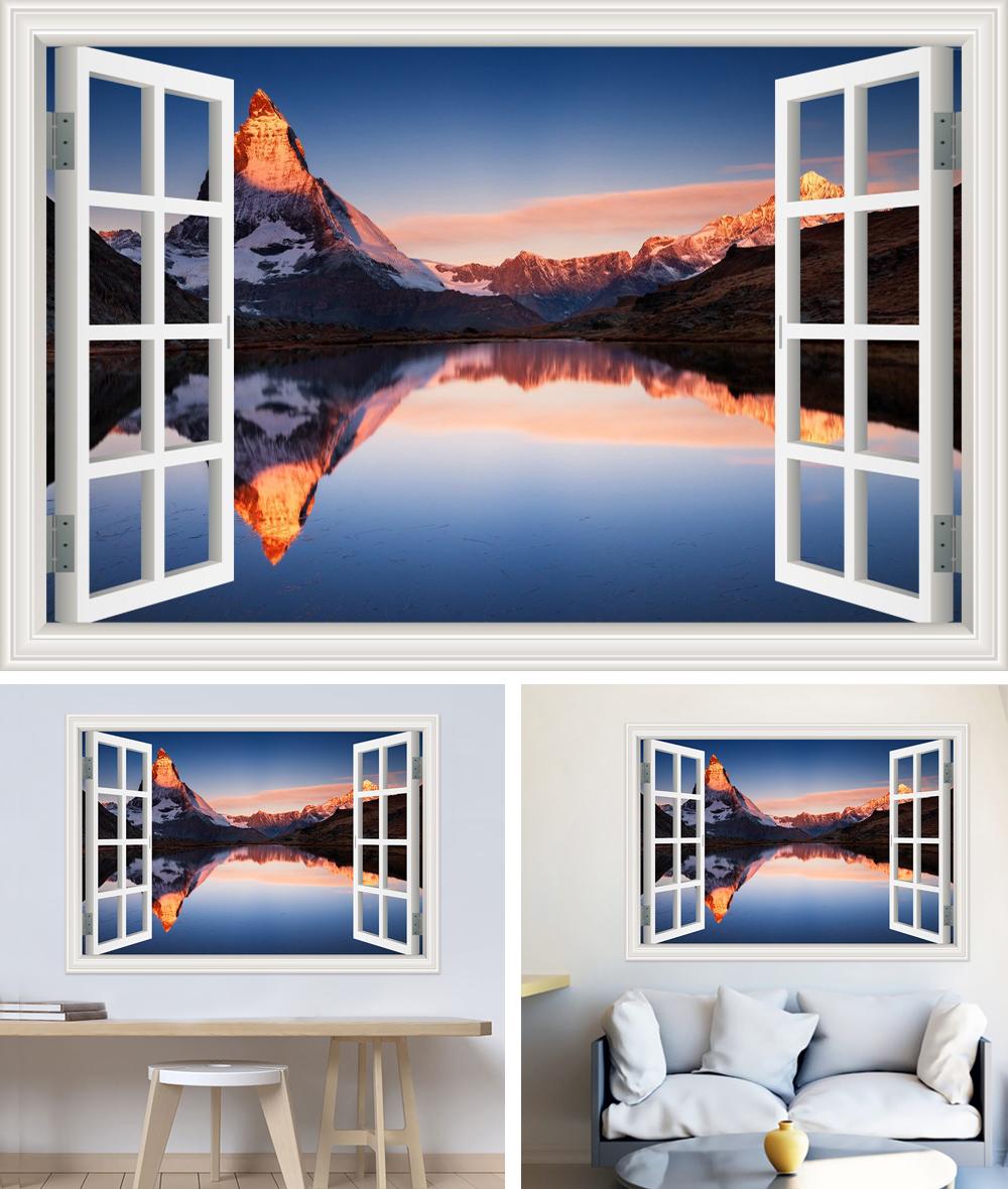 HTB1PoK8h3vD8KJjSsplq6yIEFXaK - Modern 3D Large Decal Landscape Wall Sticker Snow Mountain Lake Nature Window Frame View For Living Room