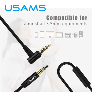 Usams 3.5mm cable de audio de 90 grados de ángulo recto jack de 3.5mm aux cable para iphone mp3 del altavoz del coche
