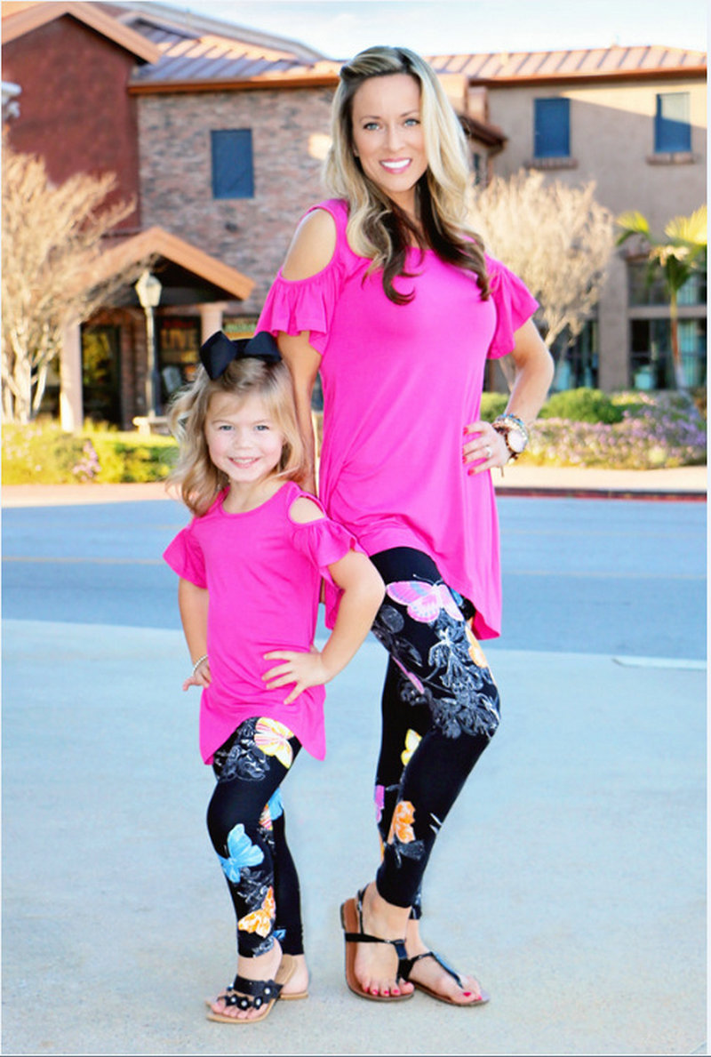 Matching Mother And Daughter Clothes Family Look Matching Pants Outfits Mommy And Me Kids Girls Women Leggings Suit Clothing (32)