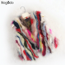 NAGODO Real Fur Vest Women Natural Raccoon Fur Coat Winter Feminino Muliti Colorful Genuine fur vests Female short Jacket(China)