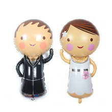 Mini groom and bride Foil Balloons Wedding Decoration air balloon inflatable classic toys wedding balloons party supplies 2pcs