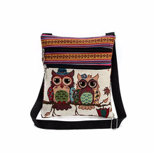 2017 New National Wind Double Zipper Female Mini Flap Shoulder Handbags Cartoon Owl Printed Bags Women Small Messenger Bags #751