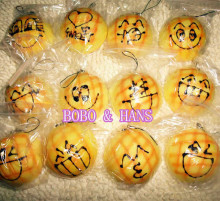 Cute funny face Pineapple bun 7cm squishy charm / mobile phone strap / Wholesale
