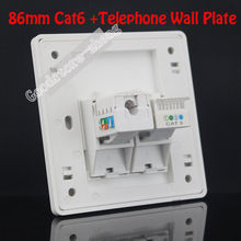Wall Plate 2 Ports One Cat3 RJ11 Phone Telphone Socket + One Cat6 Network LAN Outlet Panel Faceplate Home Plug Wholesale Lots