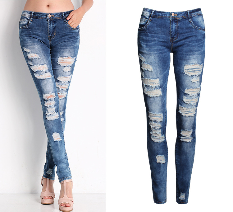 2045 New 2015 Hot Fashion Ladies Cotton Denim Pants Stretch Womens Bleach Ripped Skinny Jeans Denim Jeans For FemaleОдежда и ак�е��уары<br><br><br>Aliexpress