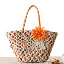Bohemian Style Hit Color Beach Bags 3D Flowers Lady Bag Straw Handbags High Quality Corn Shoulder Bags Large tote Bolsa Feminina(China)