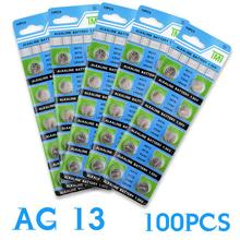 Hot selling 100pcs AG13 LR44 357A S76E G13 Button Coin Cell Battery Batteries 1.55V lr44 alkaline cell EE6258 Free Shipping