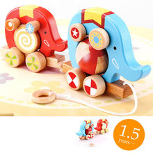 Candice guo! high quality cute elephant circus baby educational wooden toy pull the cart baby toddler toy birthday gift 1pc